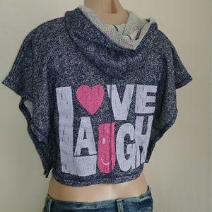 Derek Heart Girl Love Laugh Crop Hoodie Wide Slv